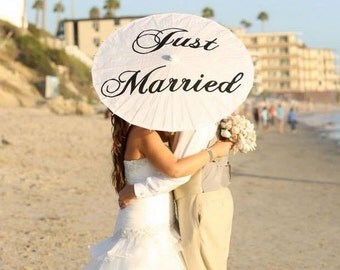 Wedding Just Married Parasol Wedding Umbrella Photo Prop Ivory White Parasol Just Married Custom Modern Ceremony Decor Sale