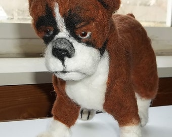 Boxer Needle Felted Sculpture