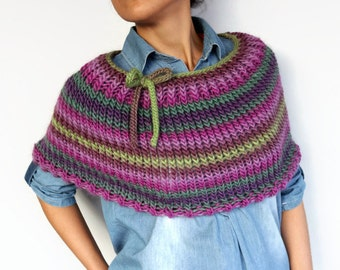 Knit Poncho, Casual Cape Capelet Hand Knitted Pure Wool Shrug Multicolored, Fuchsia, Purple, Green Wool Cape, Warm Winter Cover-up Accessory