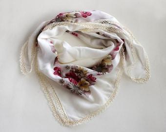 Cream Cotton Boho Scarf, Printed Cheesecloth Turban Bohemian Bandana, Muslin Authentic Scarf,  Tatting Lace Trim,  OOAK