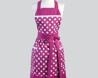 Full Womens Aprons . Vintage Kitchen Cooking Womans Apron in Vintage Berry and White Polka Dots Chef Apron Personalize or Monogram