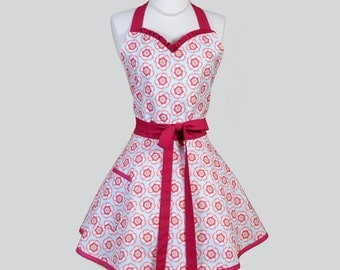 Sweetheart Retro Apron / Petal and Plume Blends Blue and Pomegranate in Womens Vintage Inspired Sweetheart Apron Super Cute