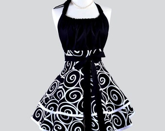 Flirty Chic Apron - Womens Retro Sexy Black and White Swirls Ironworks Sexy Pinup Kitchen Cooking Apron Ideal Gift for Her