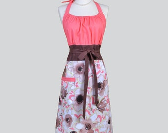 Cute Kitsch . Coral and Brown Floral on Taupe Womans Chef Apron
