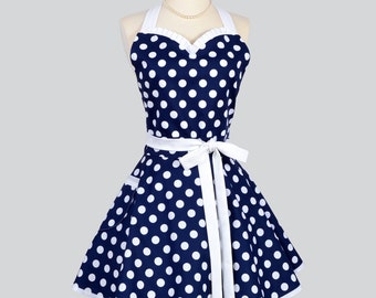 Sweetheart Retro Womans Apron - Cute Flirty Apron in Vintage Navy Blue White Nautical Polka Dot Full Kitchen Cooking Hostess Womens Aprons