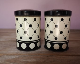 Vintage Black and White Salt and Pepper Shakers