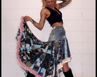 CUSTOM ORDER DEPOSIT scrappy patchwork boho maxi skirt