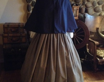 Civil War Womens Prairie Pioneer Civil War Colonial Gray Skirt with Sash Blouse and Cape 4 piece set