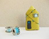 Tiny house BROOCH lemon lime yellow with blue and green fairy lights