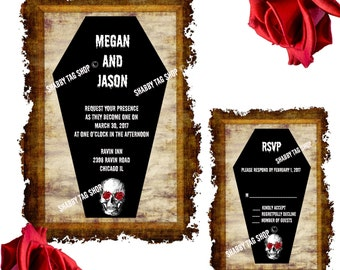 Gothic Coffin Wedding Invitation and rsvp  Customized Personalized Invitation  Digital Download