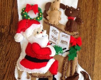 Rare Titan Santa and Piano Completed Christmas Stocking