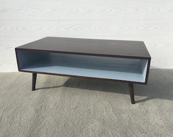 FREE SHIPPING!! Handmade Coffee Table Mid Century Coffee Table Modern Coffee Table in Espresso and Sky