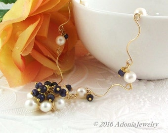 Pearl Sapphire Artisan Necklace-14k Gold Necklace-AdoniaJewelry