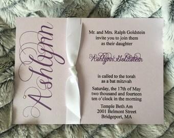 Chevron Bat Mitzvah invitation set with ribbon