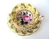 VALENTINES SALE Vintage EB Foley Bone China Tea Cup, Saucer, England 1940s,Cream Borders, Gold Scroll Leaves,White Background with Roses,Din