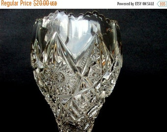 VALENTINES SALE EAPG Pedestal Goblet, Imperial Glass,Antique Spooner, Victorian Dining,Thunderbolt Bouquet Pattern 1909, Mothers Day,Shabby