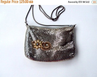 VALENTINES SALE Vintage Purse, Beaded, Chainmail, Embellished,Beadwork, Silver, Shoulder, Ladies Accessory, Fashion, 1950s, Collectible