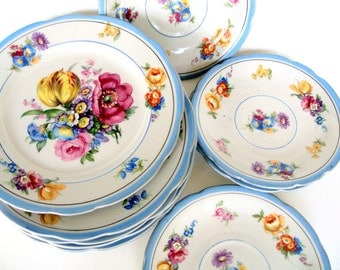 Antique Karlsbad Germania Porcelain,Lot of 10,Carl Knoll,1916,White Porcelain Paste Moriage,Saucers,Dessert Plates,Dining Serving,Wedding