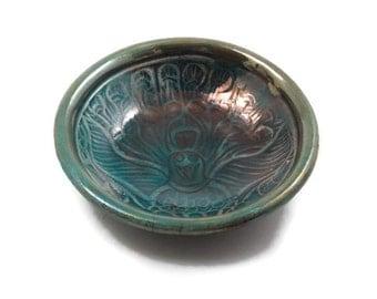 RAKU Ancient Peacock Design Bowl Pottery Hindu India