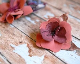 Little succulent flower dress pin, Handcrafted flower brooch