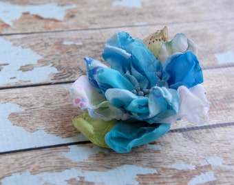Flower Accessory, Dress flower, Handmade Fabric Flower Pin, Blue Flower Brooch, Tagt Team