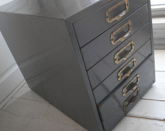 Vintage Metal 6 Drawer Industrial Storage Film Strip Library