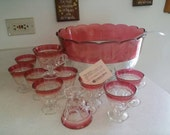 Indiana Glass Lexington Red Ruby Band 14 pc Punch Bowl Set