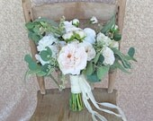 Custom Listing for Cam - White and Ivory Cream Garden Roses and Ranunculus Wedding Bouquets Boutonnieres and Corsages Set