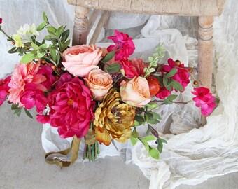 Fuchsia Gold and Peach Wild Loose Boho Silk Flower Wedding Bouquet