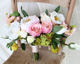 Wild Garden Style Wedding Bouquet | White and Blush Pink | Lush Romantic Peony and Rose Bouquet