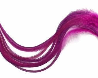 Hair Feathers, 6 Pieces - XL SOLID MAGENTA Thick Rooster hair Extension Feathers : 858