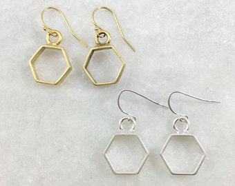 Small Open Hexagon Earrings | Silver Plated | Gold Plated | E31627-S,G