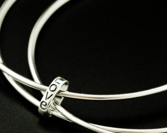 Bangle Trio with Love in Sterling Silver - Artisan Made