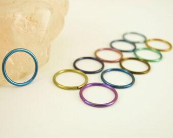 1 Hoop - Colorful Niobium Hypoallergenic Earring Hoop - 20 gauge 10mm OD - You Pick Color