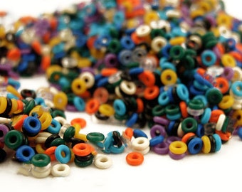 1000 Silicone Jump Rings 24 gauge 1.5mm OD - Teeny Tiny - 12 Colors to Choose From