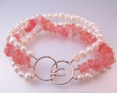 Vintage Fresh Water Pearl Rose Quartz Sterling Bracelet Triple Strand Jewelry Jewellery
