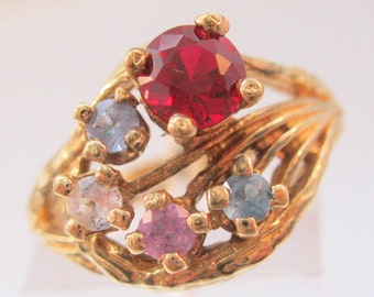 Vintage 10k YG Mother's Multi Stone Ring Ruby & Topaz Size 5.5 Fine Jewelry Jewellery
