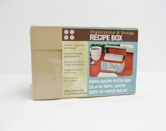 Paper mache recipe box, paper mache hinged lid box