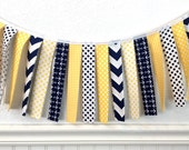 Fabric Strip Garland, Bunting Banner, Nautical Nursery Decor, Photography Prop - Yellow, Navy Blue, Chevron, Anchors, Nautical, Dots