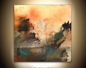 Large Original Painting 36 x 36 Modern Contemporary Art Rust Olive Square Abstract Painting Raw Acrylic by Sky Whitman
