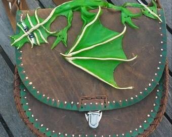 Dragon Purse green dragon Leather OOAK