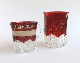 Antique Ruby Stained Glass Tumbler and Mug Souvenir Set | EAPG Button and Arches Pattern | 1904 and 1912
