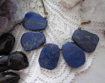 Lapis Stone Bib Necklace - Antique Brass Chain - 18-inch Layering Necklace - Large Stone Slabs