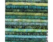Hoffman Bali Batiks, 12 Shades Of Green. 12 Fat Quarter Bundle Pre-Cuts!  Fat Quarter Batik Sampler--100% Cotton