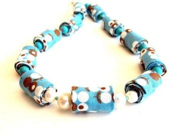 LetsPartySale Cornflower blue brown spring fiber necklace