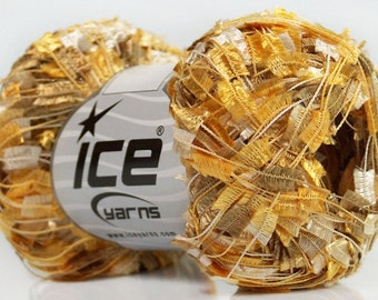 Treasure Chest Butterfly Yarn Ice Flag Ribbon Yarn 50 gram 164 yards 41735 - Golds, Pearly-Whites, Brown Butterfly Flag Yarn - On Sale!