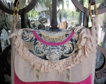 Vintage Velvet Chenille, Pink Velvet, Rhinestone Brooch, Loop Ribbon, French Brocade