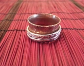Copper Spinner Ring, Size 7 1/2, with Triple Sterling Silver Spinners, Reduce Worry and Anxiety