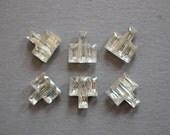 6 Vintage Art Deco City Glass Stones Crystal