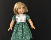 Doll Clothes for American Doll Girl Dolls Most Other 18 Inch Dolls, Silver Sparkle Snowflake Green Silver Glitter Christmas  Dress Gown